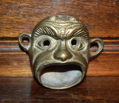 Antique French Match Safe Holder Brass Figural Monkey Head - Antique Flea Finds - 1