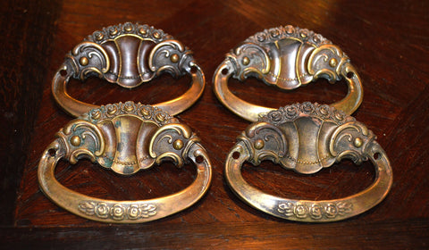 Antique Drawer Pulls English Set of 4 Brass Ornate With Petite Roses Hardware - Antique Flea Finds