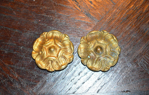 Antique Rosette Pair French Ormolu Bronze Hardware - Antique Flea Finds - 1