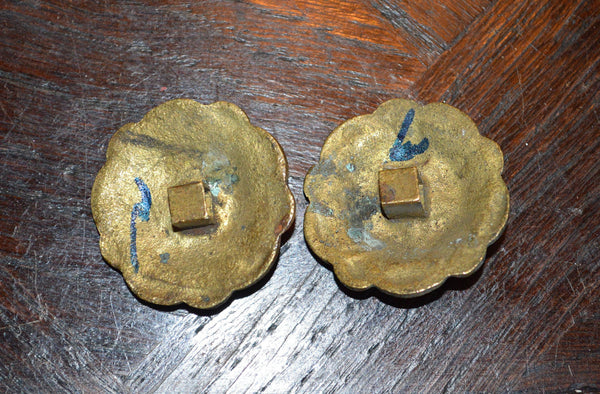 Antique Rosette Pair French Ormolu Bronze Hardware - Antique Flea Finds - 2