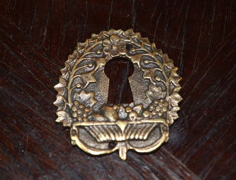 Antique French Keyhole Escutcheon Bronze Hardware Fruit Basket And Vines - Antique Flea Finds - 1