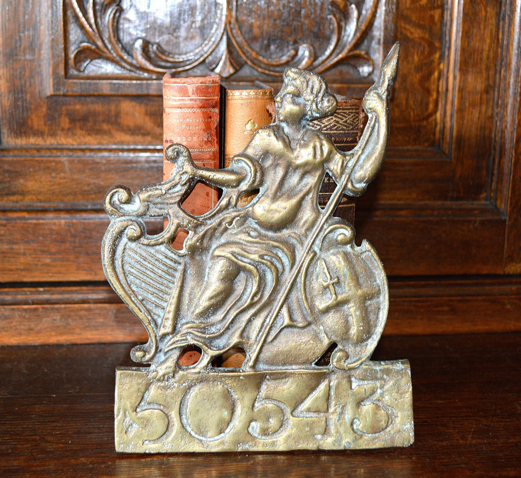 Antique English Fire Mark Brass Sign Plaque Female with Spear Shield & Harp - Antique Flea Finds
