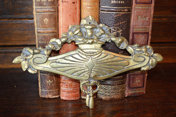 Antique French Floral Pediment Bronze Ormolu Art Deco Hardware Trim Mount - Antique Flea Finds - 1