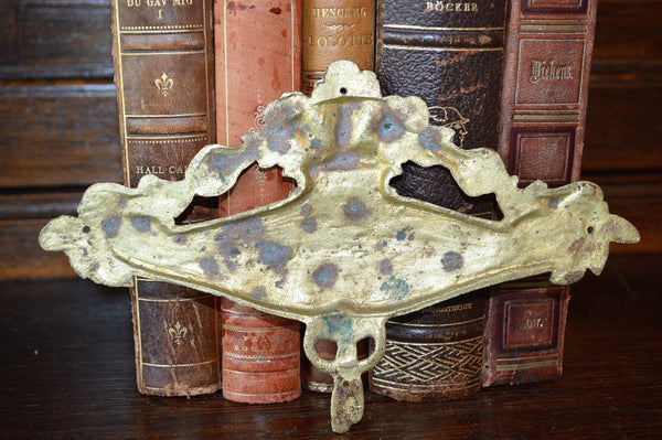 Antique French Floral Pediment Bronze Ormolu Art Deco Hardware Trim Mount - Antique Flea Finds - 3