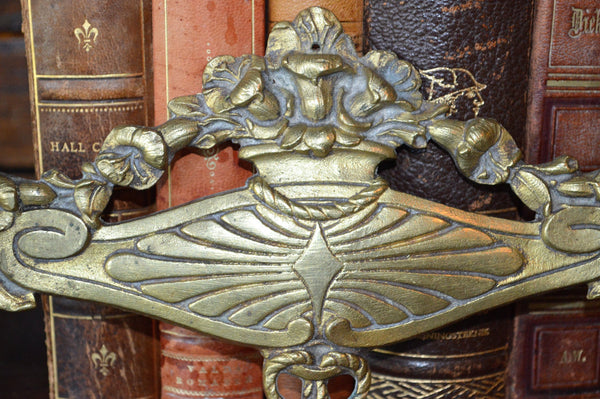 Antique French Floral Pediment Bronze Ormolu Art Deco Hardware Trim Mount - Antique Flea Finds - 2