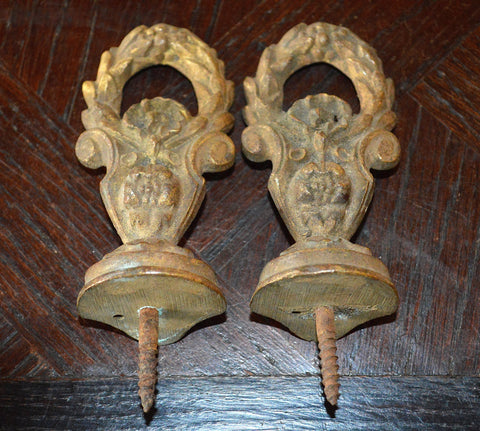 Antique Pair French Finialls Bronze Drapery Post Hardware Wreath Design - Antique Flea Finds - 1