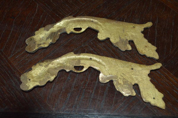 Antique Pair French Trim Mounts Bronze Ormolu Hardware - Antique Flea Finds - 4