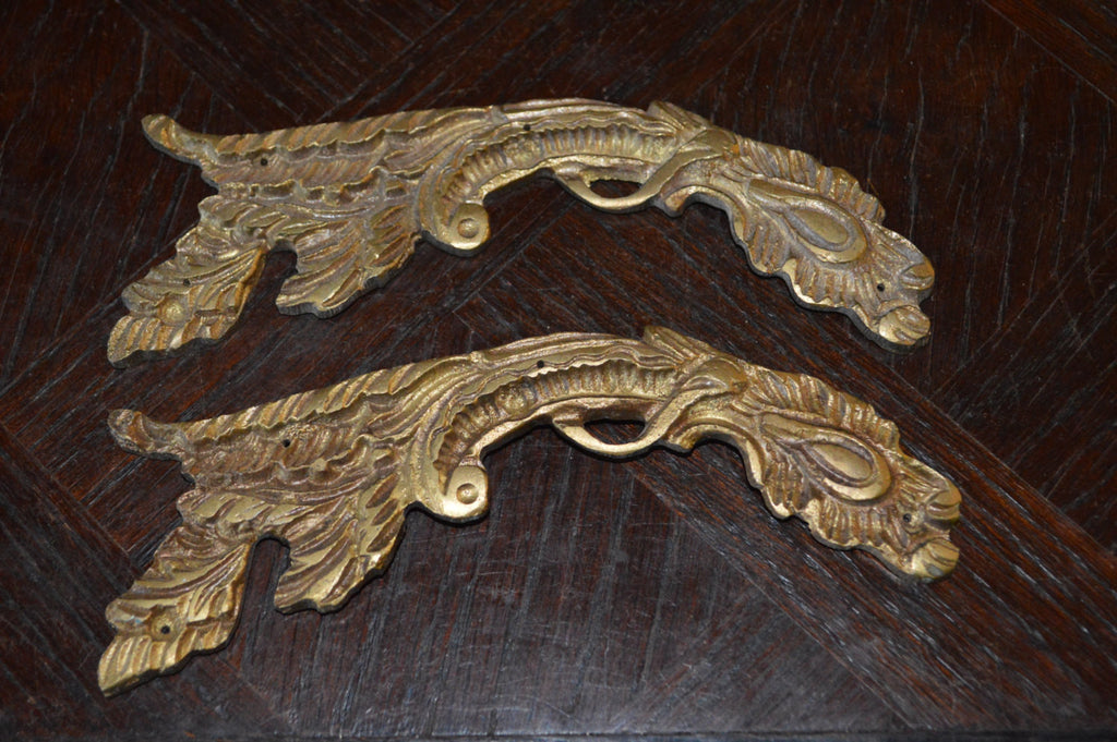 Antique Pair French Trim Mounts Bronze Ormolu Hardware - Antique Flea Finds - 1