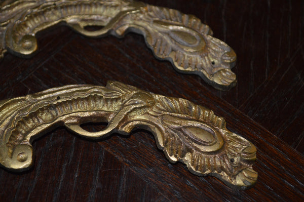 Antique Pair French Trim Mounts Bronze Ormolu Hardware - Antique Flea Finds - 3