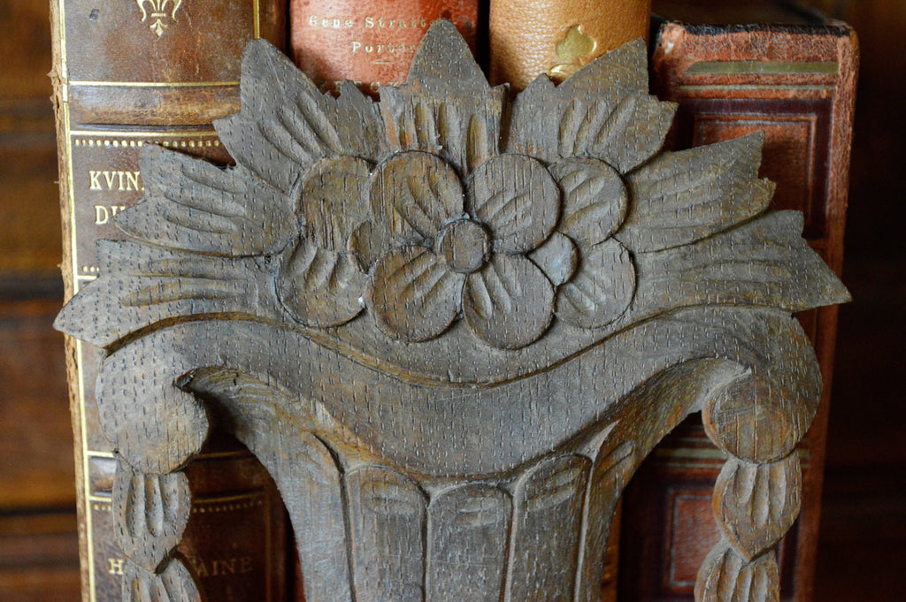 Antique German Carved Wood Floral Vase Plaque Mount - Antique Flea Finds - 1