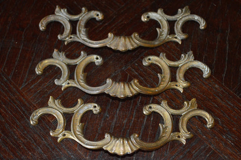 Antique French Handles Pulls Set of 3 French Brass Hardware - Antique Flea Finds - 1