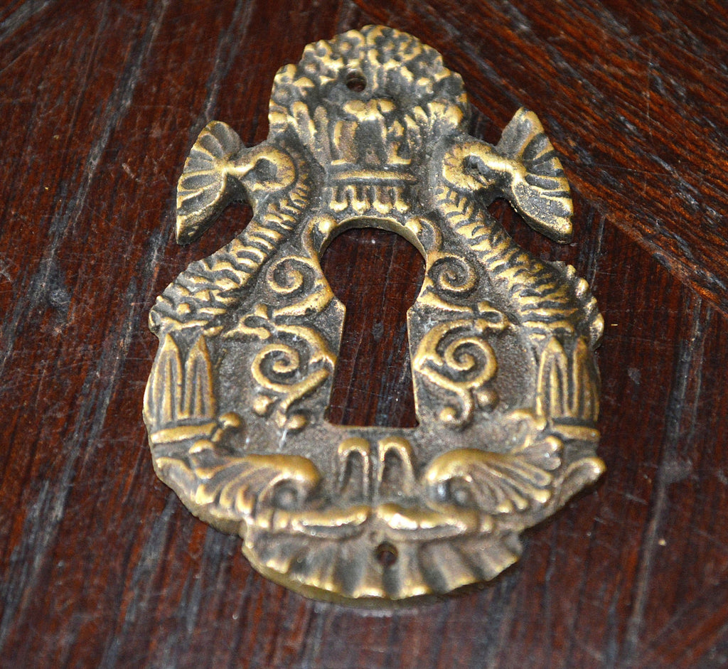 Antique French Keyhole Escutcheon Bronze Dolphin Fish Hardware - Antique Flea Finds - 1
