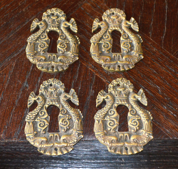Antique French Keyhole Escutcheon Bronze Dolphin Fish Hardware - Antique Flea Finds - 2