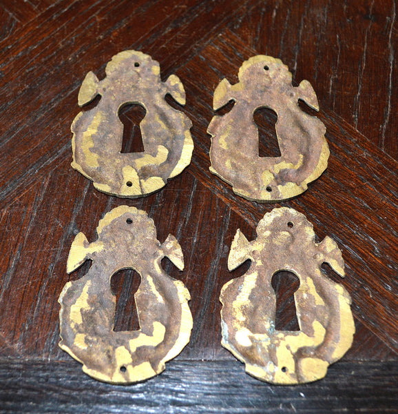 Antique French Keyhole Escutcheon Bronze Dolphin Fish Hardware - Antique Flea Finds - 3
