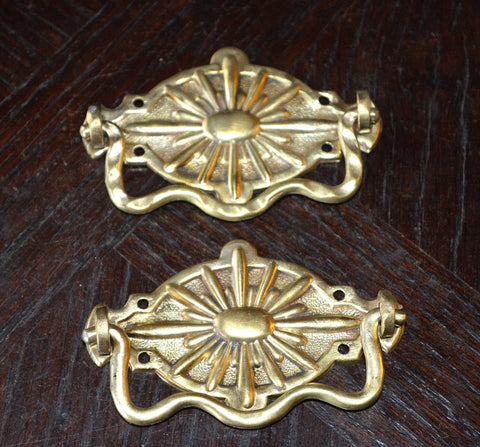 Vintage Pair Drawer Pulls French Brass Sunburst Pattern Hardware - Antique Flea Finds - 1