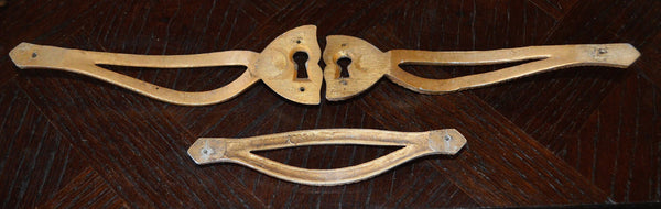 Antique French Brass Armoire Door Handles Escutcheon Set Hardware - Antique Flea Finds