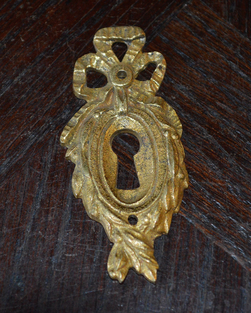Antique French Bow Keyhole Escutcheon Ormolu Hardware - Antique Flea Finds