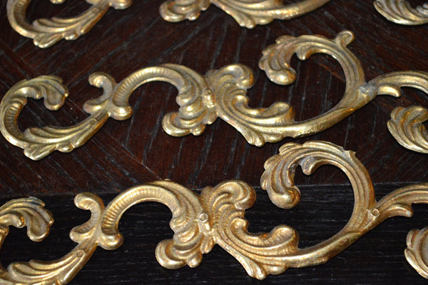 Antique Pair French Trim Mounts Acanthus Swirl Design Hardware - Antique Flea Finds - 4