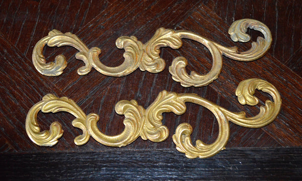 Antique Pair French Trim Mounts Acanthus Swirl Design Hardware - Antique Flea Finds - 1