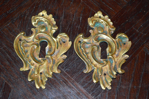 Antique Large French Escutcheon Bronze Ornate Keyhole Cover Hardware - Antique Flea Finds - 2