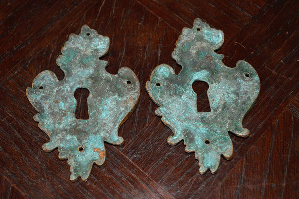 Antique Large French Escutcheon Bronze Ornate Keyhole Cover Hardware - Antique Flea Finds - 3