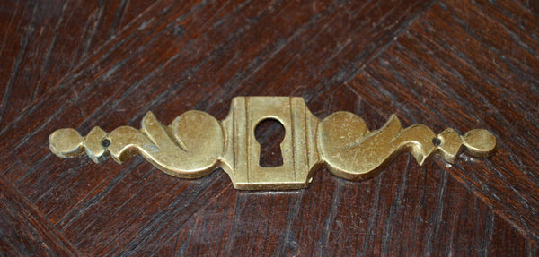 Antique French Art Deco Keyhole Escutcheon Horizontal Hardware - Antique Flea Finds