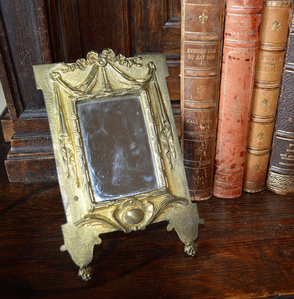 Antique French Easel Back Mirror Gilt Bronze Ormolu Draped Ribbon Bow Design 2 Available - Antique Flea Finds - 2