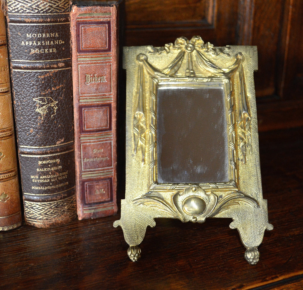 Antique French Easel Back Mirror Gilt Bronze Ormolu Draped Ribbon Bow Design 2 Available - Antique Flea Finds - 1