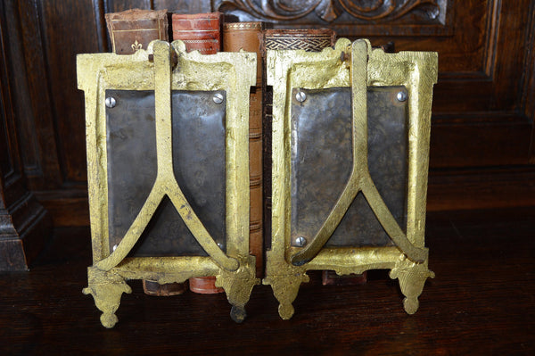 Antique French Easel Back Mirror Gilt Bronze Ormolu Draped Ribbon Bow Design 2 Available - Antique Flea Finds - 5