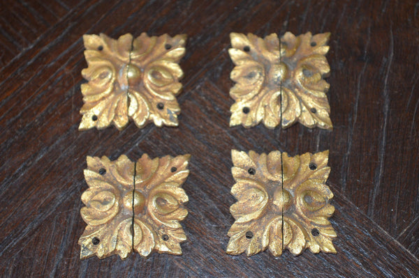 Antique Set of 4 French Square Rosettes Bronze Ormolu Mount Hardware - Antique Flea Finds - 1