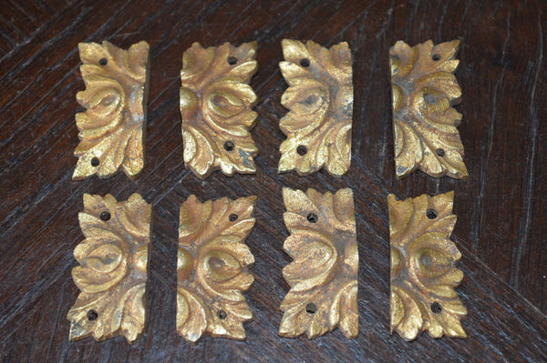 Antique Set of 4 French Square Rosettes Bronze Ormolu Mount Hardware - Antique Flea Finds - 2