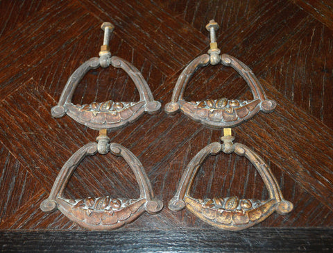 Antique Set of 4 French Drawer Pulls Handles Bronze Fruit Basket Design Hardware - Antique Flea Finds - 1