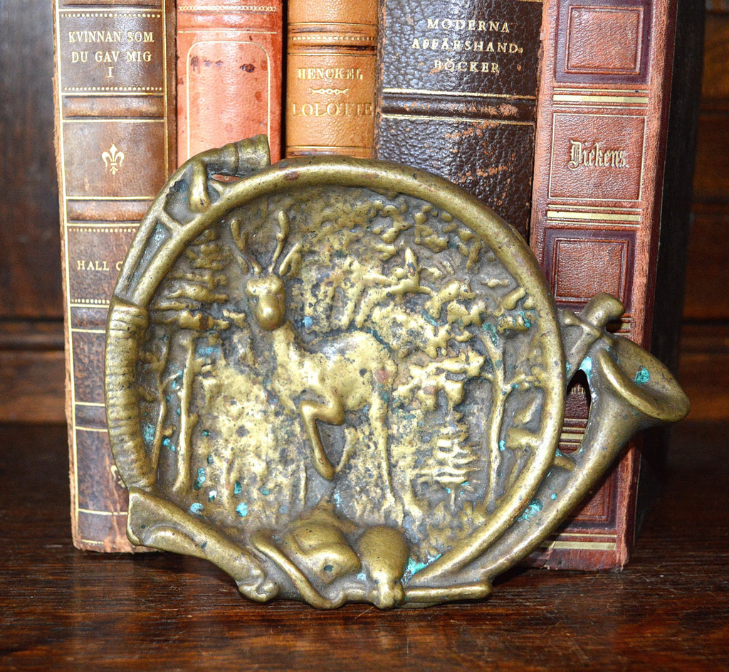 Antique French Hunt Scene Decorative Dish Trinket Tray Bronze Stag Hunting Horn - Antique Flea Finds - 1