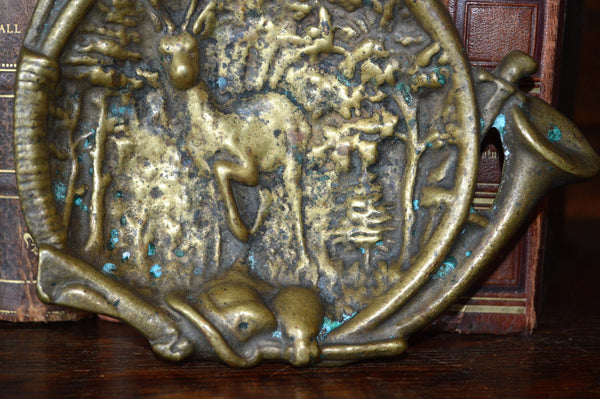 Antique French Hunt Scene Decorative Dish Trinket Tray Bronze Stag Hunting Horn - Antique Flea Finds - 3