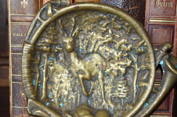 Antique French Hunt Scene Decorative Dish Trinket Tray Bronze Stag Hunting Horn - Antique Flea Finds - 2
