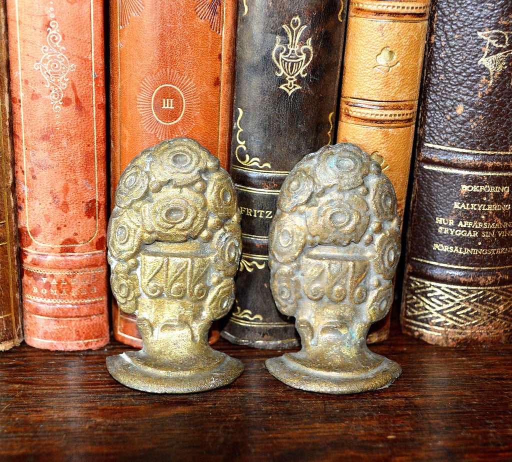 Antique Pair French Drapery Finials Hardware Ornate Bronze Floral Design - Antique Flea Finds - 1