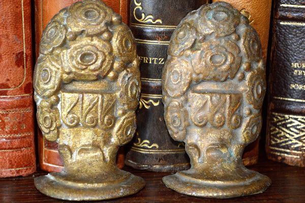 Antique Pair French Drapery Finials Hardware Ornate Bronze Floral Design - Antique Flea Finds - 2