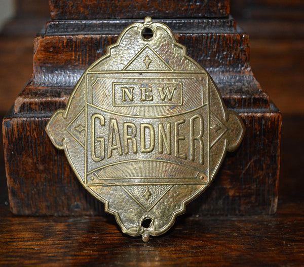 Antique French Bicycle Headbadge New Gardner Cycles Head Badge Brass Plaque - Antique Flea Finds
