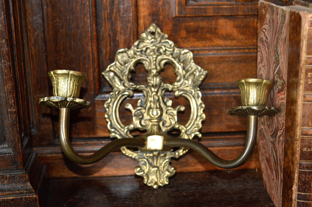 Antique French Candle Sconce Holder Ornate Brass Two Arm Wall Mount - Antique Flea Finds - 1