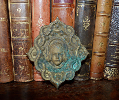 Antique French Cherub Angel Head Pediment Mount Picture Hook Cover Bronze Hardware - Antique Flea Finds - 1