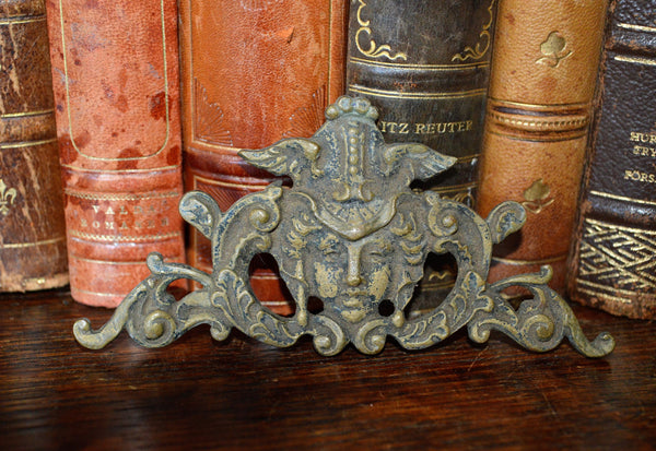 Antique French Gothic Figural Female Pediment Mount Bronze Hardware - Antique Flea Finds - 1
