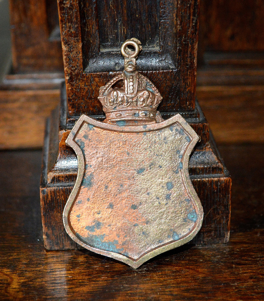 Antique Shield Crown Finding Plaque Blank Cartouche Coppered Brass - Antique Flea Finds - 1