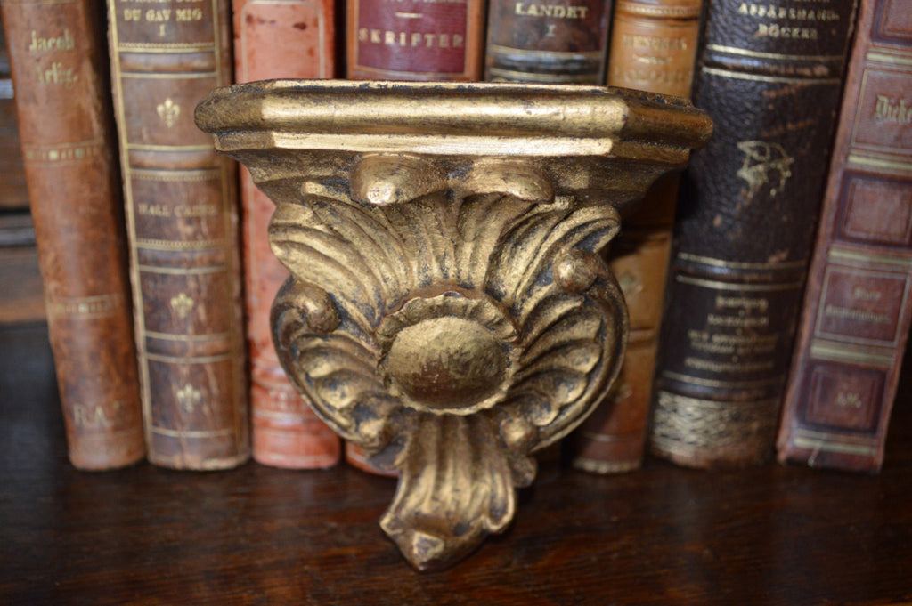 Antique German Corbel Gilded Wood Composite Display Shelf Bracket - Antique Flea Finds - 1