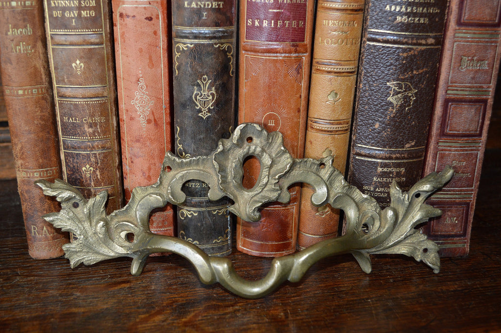 Antique French Bronze Large Drawer Pull Escutcheon Handle Hardware 2 Available - Antique Flea Finds