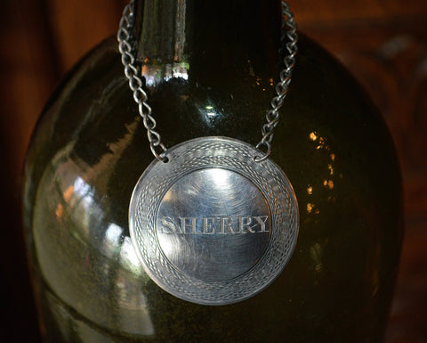 Antique Decanter Sherry Tag Round Label Bottle English Silver Plated - Antique Flea Finds