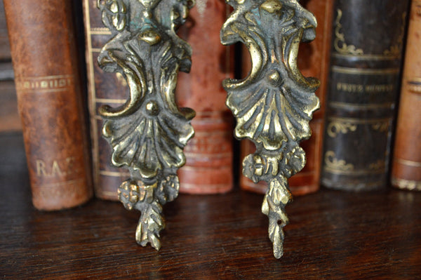 Antique French Brass Pediment Pair Hardware - Antique Flea Finds