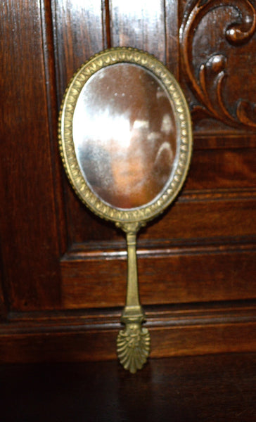 Antique French Hand Mirror with Lovely Shell Detail - Antique Flea Finds - 2