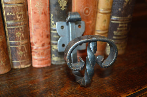 Vintage French Cast Iron Twist Hook Hardware - Antique Flea Finds - 1