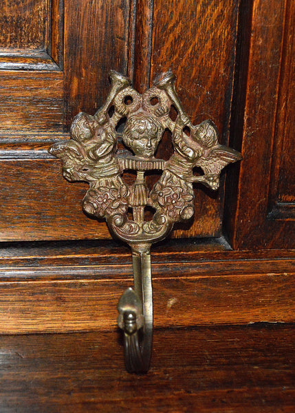 Antique Hook Cherubs Trumpeting Angels Brass Hardware - Antique Flea Finds - 2