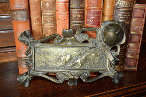 Antique French Hunt Scene Inkwell Desk Accessory Pen Tray The Chase - Antique Flea Finds - 1